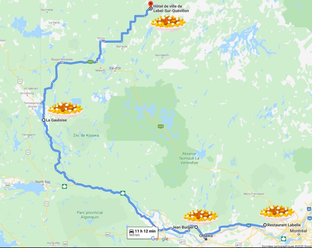 Carte pour le roadtrip épopée-poutine vers le nord en campervan
