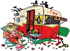 Un père Noël en vacances devant un campervan